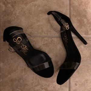 So Me Suede Clear Strap Heels